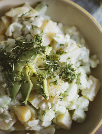Gesunder Kartoffelsalat, glutenfreier Kartoffelsalat, Partygericht, Brunch, glutenfreier Brunch, gesund kochen für die Familie, glutenfrei kochen für Kinder