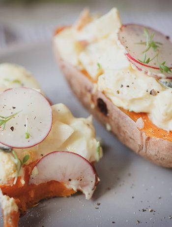 Gesunder Eiersalat mit Gebackener Süßkartoffel – Sandra Ludes – Gesunde und glutenfreie Rezepte für Kinder und die Familie